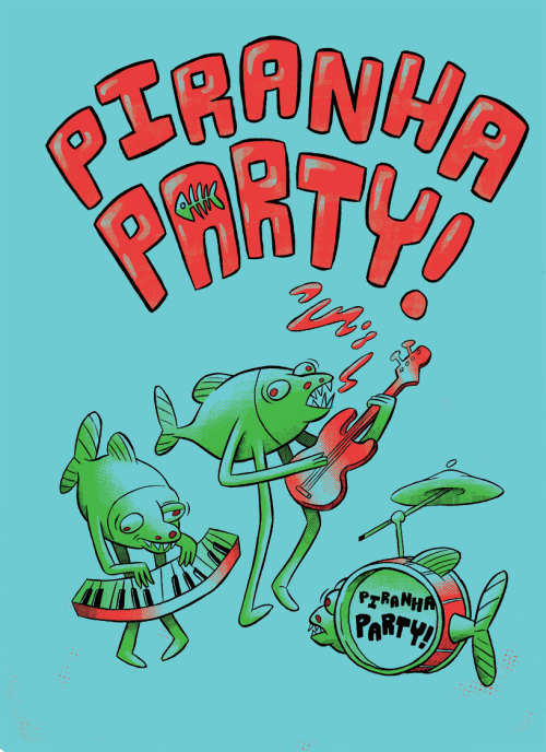 T-Shirt design I did a little while back for Piranha Party.