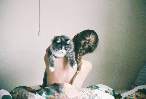 shadowbxer:  Girl and cat. (by Ugle-Ugle)