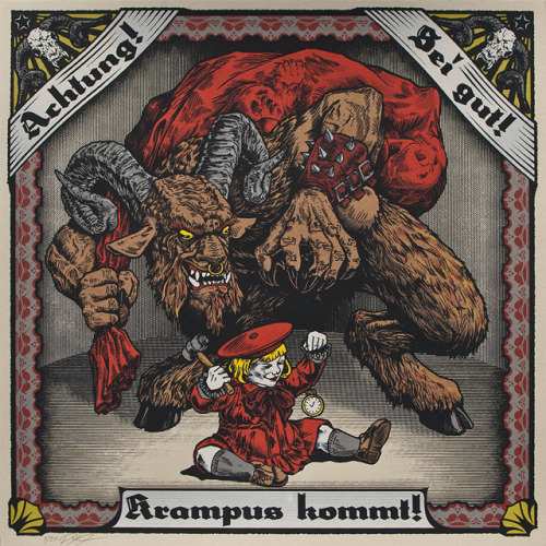 Awesome Christmas art of the day: KRAMPUS KOMMT! A gorgeous Krampus poster will scare the hell out of any kids that might be visiting your house over the holidays. Only $25. Product link