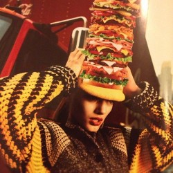Burger head on Vogue Japan. #vogue #voguejapan #fashion #style #photography #model #hat #knitwear #igersjapan #fashionigers #instagood #instamood #cap #burger
