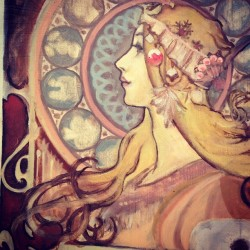 you know what is not easy? trying to paint anything by mucha.