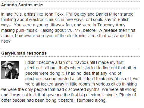 GARY NUMAN ANSWERED  MY QUESTION <33333333333333333333333333333333333333333333