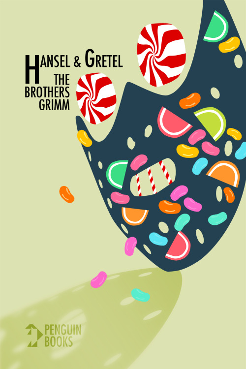 saltyandmean:  Paperback book cover for Hansel & Gretel using semiotic imagery.
