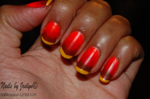 Thanksgiving gradient done on November 20, 2012 Sorry it's been so long. I've been super busy, don't even have time to redo my nails :(