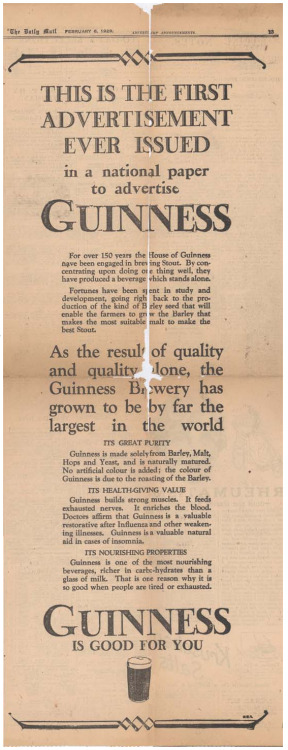"""This is the first advertisement ever issued in a national paper to advertise Guinness"""
