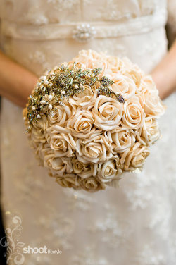 weddingicing:  8 inch taupe handtied wedding bouquet with gold by mathepplestone on We Heart It. http://m.weheartit.com/entry/42956608