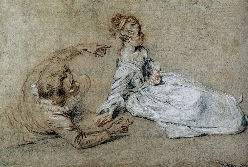 thefinishingcoat:  Sitting Couple by Jean-Antoine Watteau