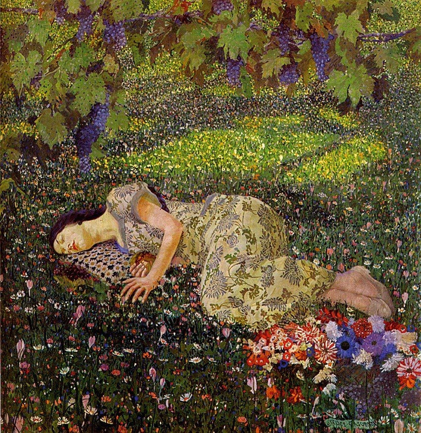lyghtmylife:  Felice CASORATI  [Italian Painter, 1883-1963] Dreaming of Pomegranates, 1912 oil on canvas Private Collection