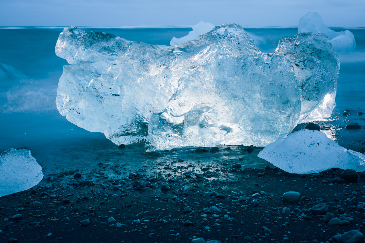 A chunk of ice on a beach in Iceland.