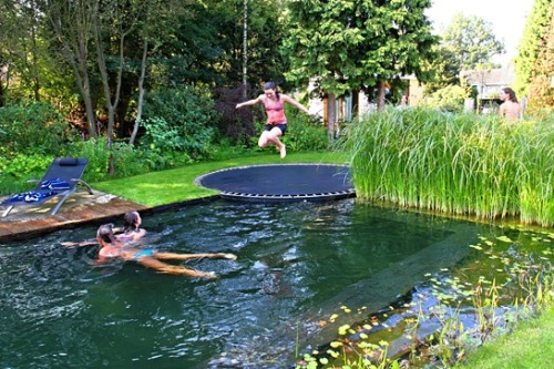 """Just a pool, disguised as a pond, with a trampoline instead of a diving board. I wrote a paper about these kinds of pools several years ago for a class when they were just prototypes. These pools have a natural filtration system that run based on the plants that are in the pool that give the water nutrients that allow it to not only be crystal clear, but you are also able to drink the water because it becomes so clean. And the best part is that once the initial filtration system is installed and calibrated, it maintains itself and eliminates the need for chlorine or constant maintenance like salt water pools."""