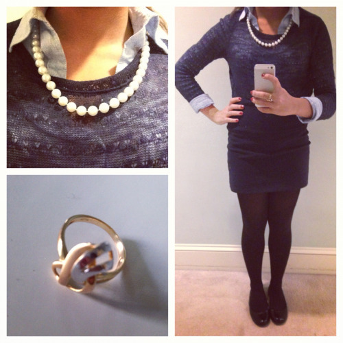 Ootd! Skirt- LoveCulture Oxford- forever 21 Pullover- Nordstrom Pearls- not sure Shoes- 9 west