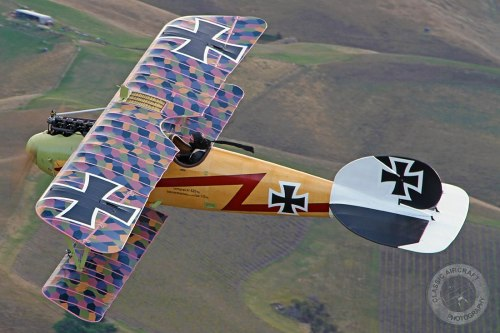 inmymindimflying:  No wonder they called it the Flying Circus.  WW1 Albatros. steamaker:   This camo is too awesome.