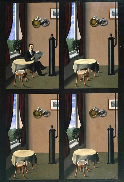 Man with a Newspaper by René Magritte, 1928. Oil on canvas, 45½ x 32 inches. Tate Collection, London, England. Magritte's disconcertingly deadpan style is seen clearly in these four simply painted scenes, which seem to be indistinguishable apart from the disappearance of the man of the title. They were based on an illustration in a popular health manual. There are slight changes of perspective between the four panels, which add to the disquieting effect, and may relate to the displacement of images in early 3-D viewing devices.