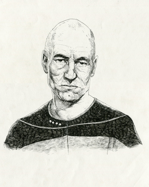 brianjsmithart:  Captain Jean-Luc Picard Pen and inkArtwork by Brian J. Smith Prints available here.  The phones and the net were down at work last week for four hours, so I drew this. I plan on drawing the entire crew.