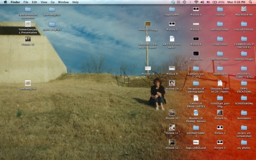"""My desktop is generally somewhat messy since I am in grad school and am always working on various projects or assignments at once. Either way, my organization when it comes to my laptop is minimal. I like to say I can find things in my mess, or I enjoy discovering old work and inspiration through searches. My current background is a photo of my mother circa 1995, when my family and I immigrated from Cuba to the United States, making Memphis, Tennessee our home. She's sitting by the Mississippi, which is directly in front of her. My father snapped the photo. I have used family photographs in my past work and am always intrigued by the family album. I believe they are our first introduction to fine art photography. I think they are worth more than gold."" Yeinier Gonzalez, 23, Artist (Photographer), Chicago, ILhttp://www.yeiniergonzalez.comhttp://www.fototio.tumblr.com"
