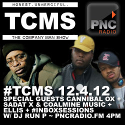 TODAY on #TCMS: special guests Cannibal OX + Sadat X & Coalmine Music + Ellis + #InboxSessions w/ DJ @Run_P