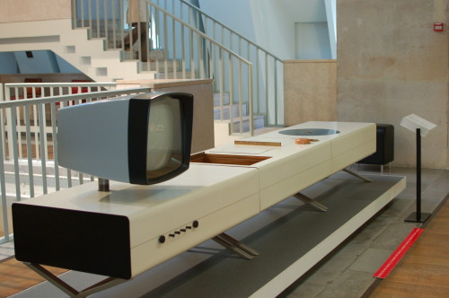 1958-59 Multifunctional Furniture, TV, Record Player and Bar Designed by Antoine Philippon with Jacqueline Lecoq, this prototype won first place in the contest Formica lors du Salon des Artistes Décorateurs in 1959. It's now located at the Museé des Artes Decoratifs in Paris. Via