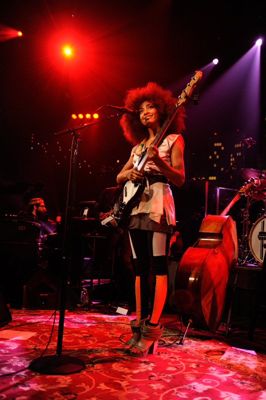 jackrubytuesday:  Esperanza Spalding and her awesome tights at Austin City Limits on Sunday.