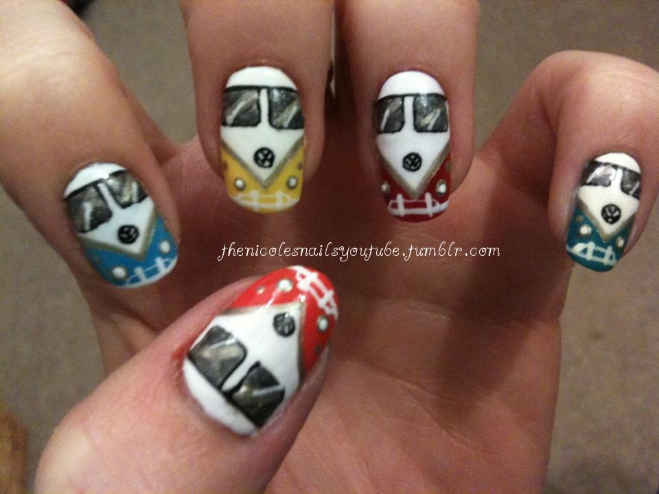 thenicolesnailsyoutube:  Are we there yet? ….. VW Camper van nails :D