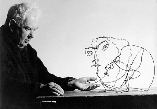 "theincompletenesstheorem:  Alexander Calder (above in 1963) ponders two of his creations, ""Edgar Varese"" & ""Untitled."" Courtesy Ugo Mulas Archives/National Portrait Gallery"