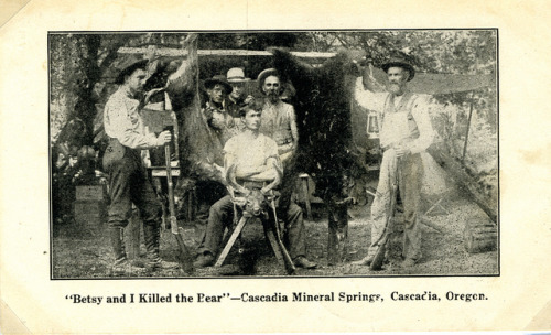 """Betsy and I Killed the Bear"" — Cascadia Mineral Springs, Cascadia, Oregon by OSU Special Collections & Archives : Commons on Flickr.Look at the photo. Consider what has has just happened here, or what is about to happen here. Who has been here? Who will come here and and what will they do? What kinds of interactions can you imagine? Write one leaf about these or other things that occur to you upon looking at the picture. Do not allow yourself to be limited by what you see. Go.