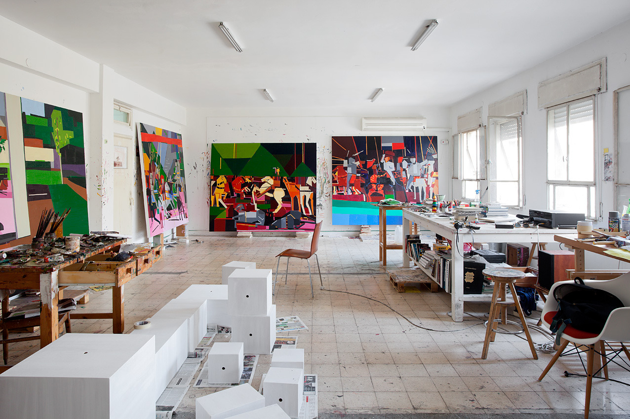 Studio, right before work was shipped to Rothschild 69. Photographed by Elad Sarig