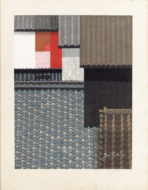 "Sekino Jun'ichiro (1914-1988)  Untitled (Tile roofs of Nagoya) Untitled (New York) Untitled (Suisho no bannin [Crystal guardian figure]) Untitled (Owl) http://www.christies.com/LotFinder/lot_details.aspx?intObjectID=1868364 ""Junichiro Sekino is one of the giants of Japanese printmaking in the twentieth century and a leading promoter of Sosaku Hanga - an important Japanese art movement.""(via) Also : http://yama-bato.tumblr.com/tagged/Sekino-Jun%E2%80%99ichiro"