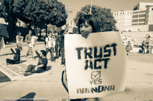 Our action in front of Men's Central Jail in Los Angeles; TRUST Act, read up on it folks.