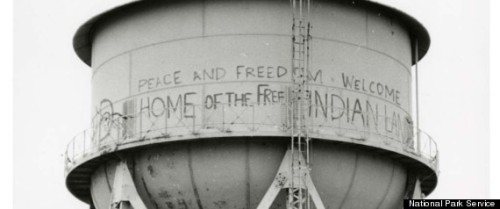 Alcatraz Water Tower Graffiti Restored, Preserving Memory Of Historic Native American Occupation (PHOTOS) Early last month, the National Park Service did something unusual: It painted graffiti onto one of its buildings.