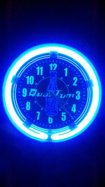 so this is my latest masterpiece…. Nuka Cola Quantum Neon Clock, complete with glow in the dark quantum lettering