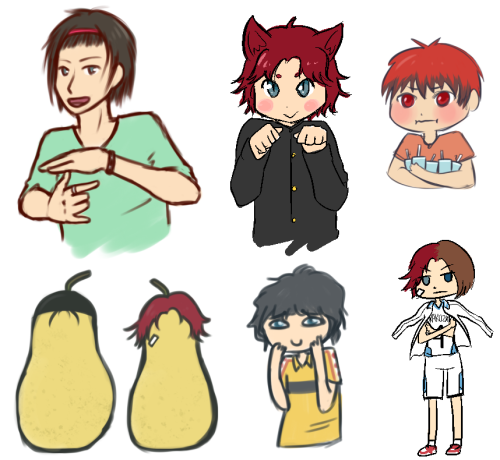 "None of these are Stupids, but they're all pretty dumb. Figured Takao and JK would be good friends, and Takao's initials are TK… Also Golden Pear. Also Fuji/Eiji fusion in Rakuzan uniform a la Akashi is obviously the answer to ""which of the three should I try to cosplay first?"""