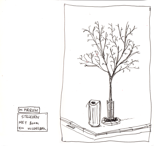 Still life with tree and waste bin.