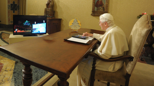 "american-samoa:   Annuntio vobius gaudium magnum—habemus tweetam!  The pope is now on Twitter—and, yes, his tweets will be official church doctrine  By Christopher Mims       As of this morning, the pope is on Twitter at @pontifex. And, no pressure on the pontiff, but the Catholic Church has already declared that anything he tweets will be part of the church's magisterium, although it's not clear yet whether his pronouncements in this medium will be considered infallible. The pope's first tweet will arrive on December 12. Anyone who has questions for the Pope can tweet them with the hashtag #askpontifex, says the Vatican's official twitter account. Which, let's be honest, feels like a disaster waiting to happen. Already, a search for top tweets including ""pontifex"" turns up a number of wags ready to score points off the leader of the Catholic Church, whose followers—on Twitter, at least—appear to be swelling at the rate of at least 20,000 an hour.  The pope will also be tweeting in at least six other languages: German, Spanish, Italian, Polish, Portugese, and Arabic. It's also been reported he'll be tweeting in French, but that account does not appear to exist yet, and given that it's suspended, someone may have already tried to claim it. As in real life, Twitter already has its share of false popes. It's worth noting that the Dalai Lama has 5,636,705 followers on Twitter as of this writing, while the pope is approaching 30,000. (There are 1.2 billion Catholics in the world and approximately 20 million Tibetan Buddhists.) The pope will not be authoring his own Tweets, reports Reuters. The Vatican's senior media advisor said, ""We are going to get a spiritual message. The pope is not going to be walking around with a Blackberry or an iPad and no one is going to be putting words into the pope's mouth. He will tweet what he wants to tweet."" Here's some file footage of the pope using an iPad:"