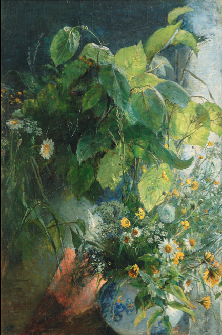 Bertha Wegmann  (Danish 1847-1926)  Stilll Life with Bunch of Wild Flowers