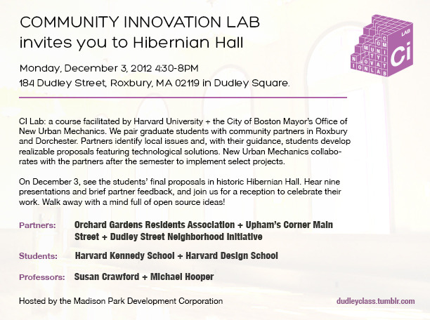 Community Innovation Lab Final Review - Monday, December 3, 2012 at Hibernian Hall in Dudley. See you there!