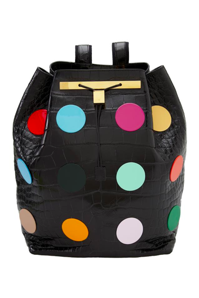Backpack by Hirst Mary-Kate and Ashley Olsen have teamed up with Damien Hirst to create a range of luxury backpacks for their label The Row. The exclusive US$55,000 backpacks are adorned with polka dots and prescription pills typical of Hirst. We hear that a portion of the proceeds will go to UNICEF, however the donation amount is at Hirst's discretion!