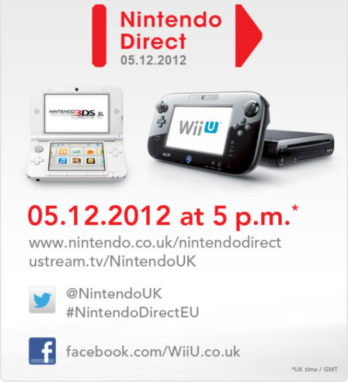 Nintendo will show off Wii U & 3DS games for 2013 Nintendo Direct broadcast on Wednesday 5 December at 5pm GMT (UK time). The show will focus on games coming to Nintendo Wii U and 3DS in the remainder of 2012 and the first months of 2013. Expect Nintendo to reveal the release date for Pikmin 3 for Wii U and Luigi's Mansion 2 for 3DS. Look for Nintendo to reveal a few surprise games for Wii U and 3DS too! Click here to see when you can watch in your time zone. Watch the live stream!