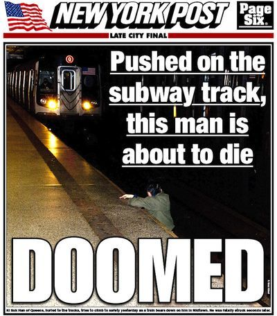 "theatlantic:  Who Let This Man Die on the Subway?  If there's enough time to capture a dying man's last moments before getting hit by an oncoming train that's that worthy of a tabloid cover, couldn't the photographer have lent a hand?   [Image: New York Post]  ""I didn't think about [the perp] until after. In that moment, I just wanted to warn the train — to try and save a life."" The photographer claims he took a photo, using flash, in an effort to warn the driver, which has drawn criticism."