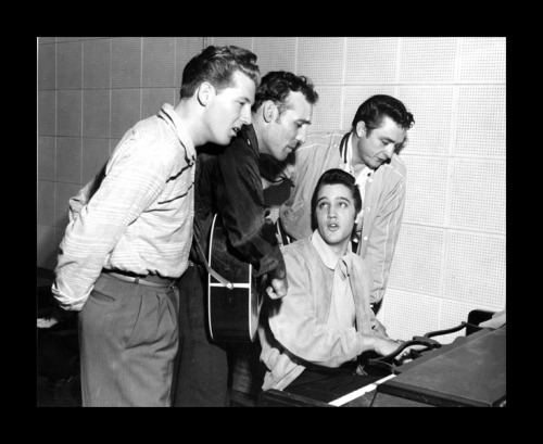 December 4, 1956: Elvis Presley, Johnny Cash, Jerry Lee Lewis, and Carl Perkins, later dubbed The Million Dollar Quartet, met for their one and only time at Sun Studios in Memphis, Tennessee.