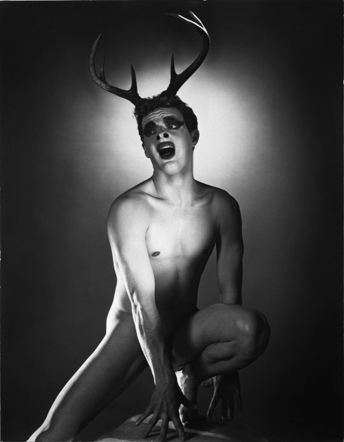 queermuseum:  George Platt Lynes was a fashion and fine art photographer from the twenties up until his death in the fifties. Privately, he produced a huge catalog of male nudes and other homoerotic works that drew from the posed nature of his fashion photos and the Surrealist demimonde in which he lived during the early part of his life. At 19, Lynes dropped out of Yale and fell in love with Monroe Wheeler, who would become famous as a small press bookmaker (he founded Harrison of Paris and went on to be deeply involved with MOMA for fifty years). Lynes moved to Paris, following in Wheeler's footsteps, and there met Gertrude Stein, Alice B. Toklas, Paul Robeson, and many other luminaries of the era. He also met Glenway Wescott, a celebrated novelist - and Wheeler's other boyfriend. The three's open, joyful, polyamorous relationship was public knowledge even to many of their family members at the time, and lasted for more than a decade. Like his life, much of Lynes' homoerotic private photography presages what Mapplethorpe et al. would make public decades after his death in 1955. — Hugh  Hugely Important