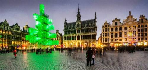 Thousands sign online petition against high-tech Christmas tree (Photo: Geert Vanden Wijngaert / AP) Instead of a traditional pine tree, a high-tech light installation vaguely shaped like a Christmas tree stands in the the city center of Brussels.  And the 82-foot sculpture is causing quite a stir, with thousands of signatures appearing on an online petition against it. Read the complete story.