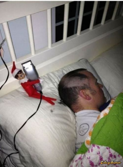 collegehumor:  Elf Doll Shaves Guy's Head in Sleep  Some of Santa's little helpers don't think coal is enough for people on the naughty list, so this elf decided to go rogue.