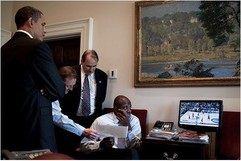 Man-cave level: Oval Office. President Barack Obama makes some of the toughest in the world from the Oval Office at The White House… If a flat screen and some football throwing making him better at that job then thumbs up, sir. Click the pic for more photos!