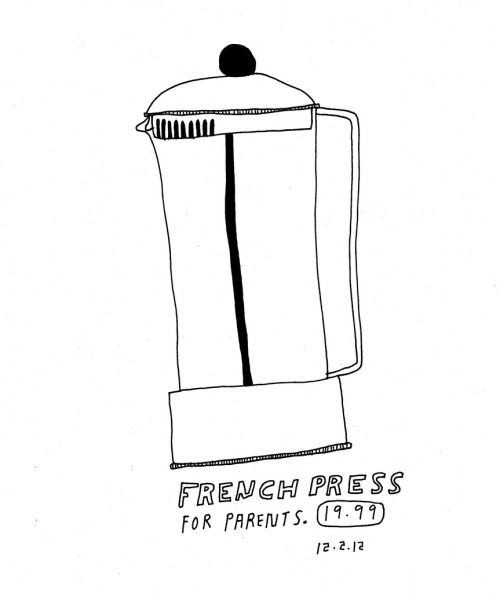 Daily Purchase Drawing for 12.02.12  Shipping a French Press home to my parents so I can have coffee while I visit for the week.