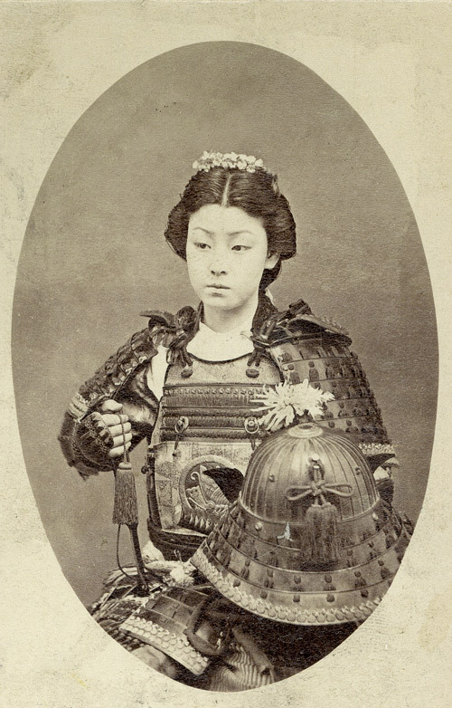 "pastelmorgue:   justamus:   A rare vintage photograph of an onna-bugeisha, one of the female warriors of the upper social classes in feudal Japan. Often mistakenly referred to as ""female samurai"", female warriors have a long history in Japan, beginning long before samurai emerged as a warrior class.    BAD BITCHES"