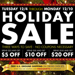 Three ways to SAVE! Don't miss our holiday sale NOW through Monday. Spend a little or spend a lot, either way you'll save! www.villagehatshop.com Sale valid Tuesday December 4, 2012 through Monday, December 10, 2012 until 11:59pm PST. Discounts applied automatically at checkout and cannot be combined with other discounts except FREE SHIPPING. Free Shipping offer via USA STANDARD SERVICE within the contiguous United States only and is not valid with previous orders, wholesale/B2B, or special orders. Use coupon code FREESHIP75 during checkout.