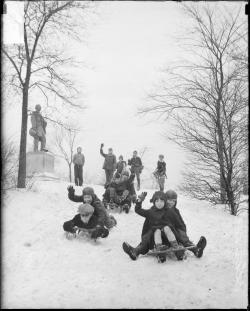 Children smiling and waving as they sled down a hill, 1929, Chicago, Illinois. Photograph by Chicago Daily News, Inc. Want a copy of this photo?  > Visit our Rights and Reproductions Department and give them this number: DN-0090297 Connect with the Museum