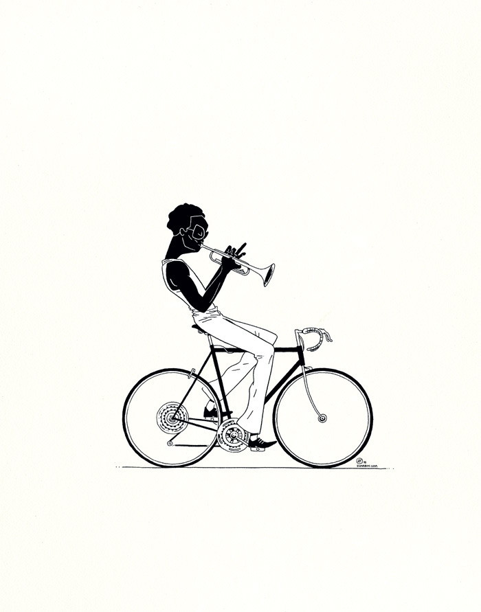 MILES BY BICYCLE (alternate version) — a friendly reminder of my new print, in this case the alternate version, printed in a color/black-and-white scheme, essentially the lineart printed over a scanned textured background, rich black on cream and white. Posh! I'm about to go inspect the proofs of these at the printer, and then orders should start going out over the weekend. All of this is potentially a part of my holiday sale, where orders of $50 or more can get 35% off with discount code DHARBMAS in my store.