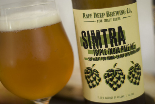 Knee Deep Brewing Co. | Simtra - Triple IPA  We've had IPAs, Imperial IPAs, and even that over-hopped one off by Sierra Nevada's brewer school but never a Triple IPA. Knee Deep Brewing's Simtra was particularly exciting as many compared it to Russian River Brewing's Pliny the Elder - the grail of IPAs as many are concerned. Being a big fan of PtE, the suspense built up early.  Pleased to tell you that this did not disappoint. Not as bitter as one would expect, or skunky, but a linear hop profile with complex notes of apricot, honey, citrus and some burnt caramel.   I'm going out to procure more for this holiday, you should too.