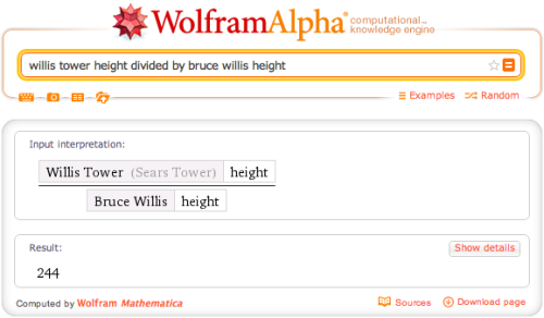 How many times would you have to stack Bruce Willis to equal the height of Willis Tower?
